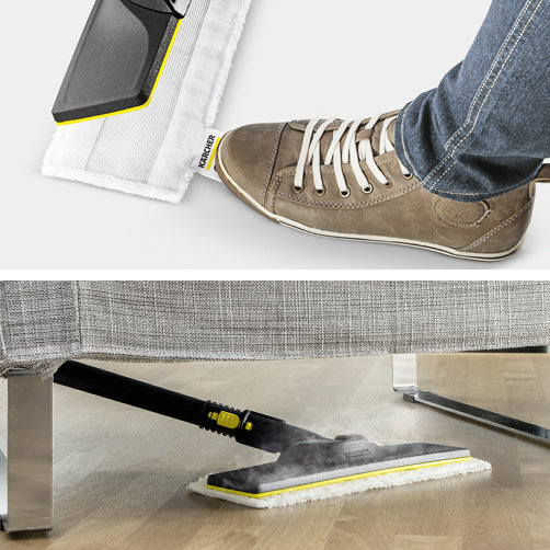Комплект за почистване на под EasyFix с гъвкав шарнир на подовата дюза и удобно закрепване с велкро на кърпата за под